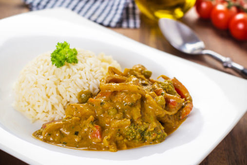 Mixed Veg Curry with plain rice